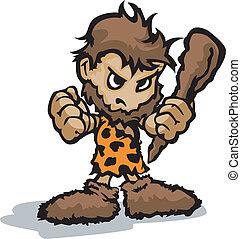 legno, caveman, faccia, club, vettore, presa a terra,...