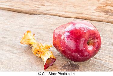 legno, centro, mela, fondo, rosso