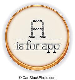 legno, cerchio, ricamo, app