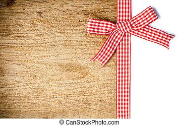 legno, checkered, fondo, nastro, rosso