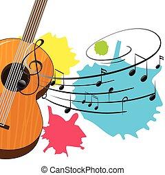 legno, chitarra, note, musica, fondo