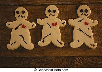 legno, chiudere, biscotti, halloween, tavola, su, organizzato
