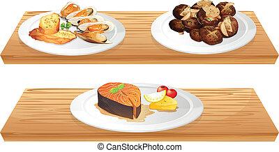 legno, cibi, due, mensole