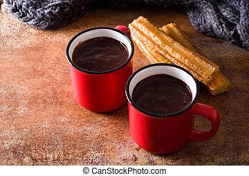 legno, cioccolato caldo, tavola., churros