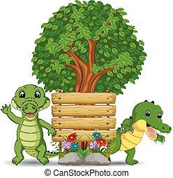 legno, coccodrillo, due, sagoma, segno