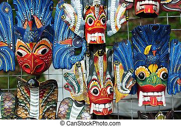 legno, colorato, maschere