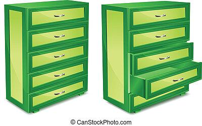 legno, commode, in, verde