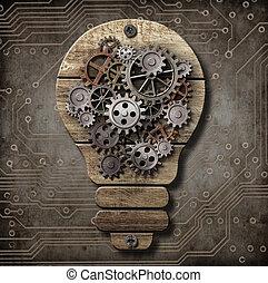 legno, concept., idea, denti, lampada, gears.