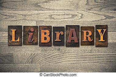 legno, concetto, biblioteca,  Letterpress