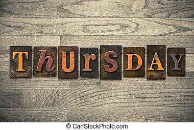 legno, concetto, giovedì,  Letterpress
