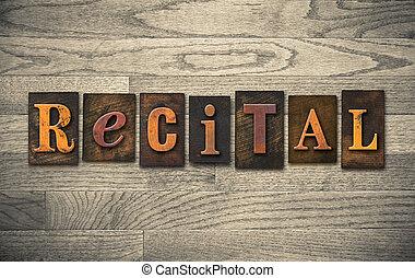 legno, concetto,  recital,  Letterpress
