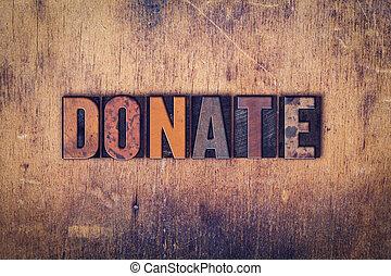 legno, concetto, tipo, donare, letterpress