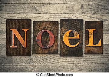legno, concetto, tipo, noel, letterpress