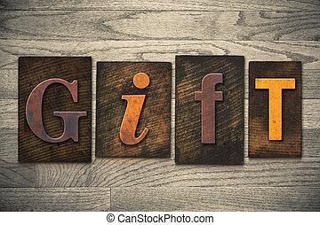 legno, concetto, tipo, regalo, letterpress