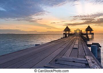legno, condurre, camminare, litorale, percorso