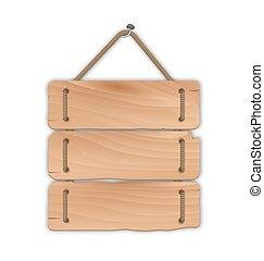 legno, consiglio segnale, con, corda, appendere, uno, chiodo