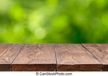 legno, contro, sfondo verde, tavola, vuoto