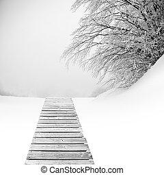 legno, coperto, albero, neve, pavimento