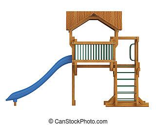 legno, coperto, diapositiva, piattaforma
