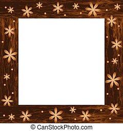 legno, cornice foto, fiori, intagliato