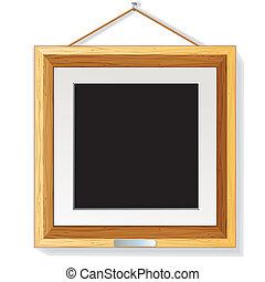 legno, cornice foto, illustrazione, parete, vettore