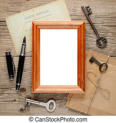 legno, cornice foto, vecchio, fondo