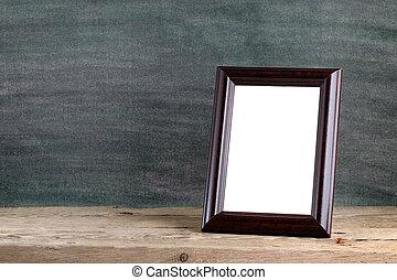 legno, cornice foto, vecchio, tavola