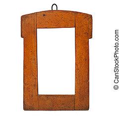 legno, cornice, vecchio, isolato