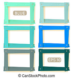 legno, cornici, blu, set