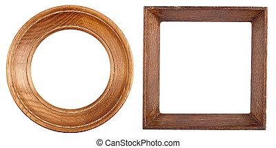 legno, cornici, due