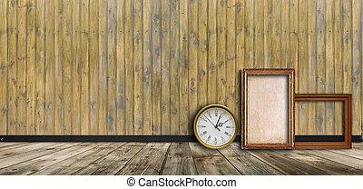 legno, cornici, orologio, vuoto, contro, parete, vendemmia