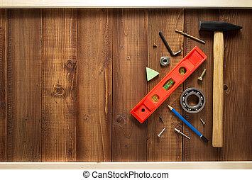 legno, costruzione, attrezzi, fondo