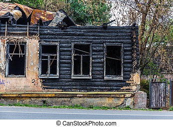 legno, costruzione, bruciato, vecchio