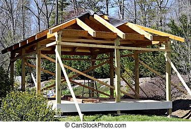 legno, costruzione, ponte