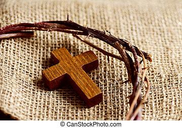 legno, croce, e, il, corona spine, di, gesù cristo