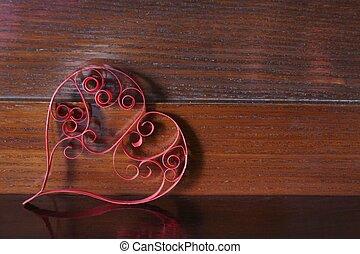 legno, cuore, carta, quilling, fondo