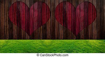 legno, cuore, concetto, fondo, valentina