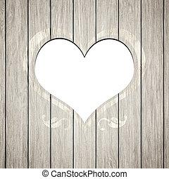 legno, cuore, cornice