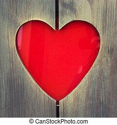 legno, cuore, cornice, foto, modellato