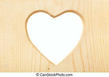 legno, cuore, ritaglio, cornice, percorso