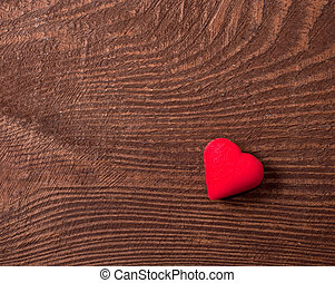 legno, cuore, sfondo rosso