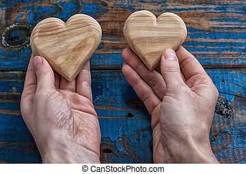 legno, cuore, simbolico, due