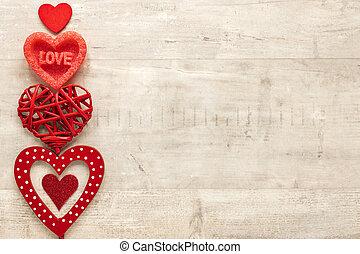 legno, cuore, vista, spazio copia, cima, fondo