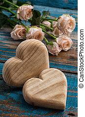 legno, cuori, fatto mano, rose
