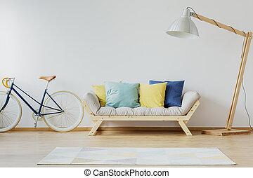 legno, cuscini, colorito, divano