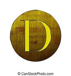 legno, d, lettera, gold.