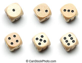 legno, dado, tutto, numeri