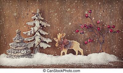 legno, decorazione, inverno, fondo