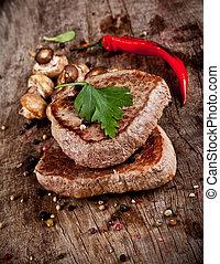 legno, delizioso, manzo, bistecche