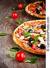 legno, delizioso, servito, tavola, pizza, italiano